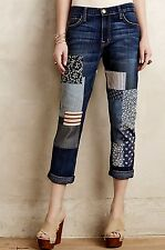 NWT Anthropologie Current Elliott Fling Slim Boyfriend Patchwork Crop Jean 28