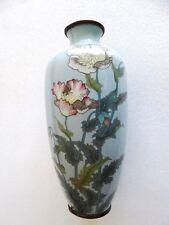 "Antique Japanese cloisonne enamel poppy flower rare sky blue color 10"" vase"
