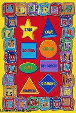 3x5 Area Rug ABC  Educational Shapes Kids School Learning Time Blocks Shape New