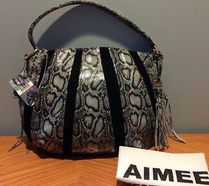 "Aimee Kestenberg ""Tuscany"" Pebble Leather & Suede Hobo in SOFT GREY COBRA $244"