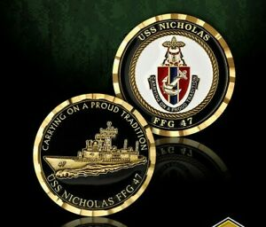"""NAVY USS NICHOLAS FFG-47  1.75"""" CHALLENGE COIN"""