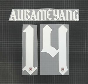 AUBAMEYANG #14 2020-2021 Player Size European & Cup Home White Nameset Plastic