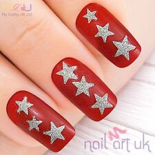 Silver Glitter Star Adhesive Nail Stickers, Decals, Art 01.02.033
