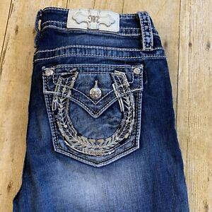 Miss Me Chloe Boot Women's Thick Stitch Jeans Rhinestones Size 29 (32X33)