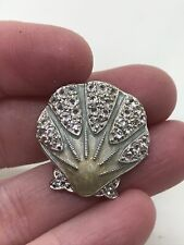 """Seashell Sea-foam Green Enamel  """"STAMPED"""" Vintage  Pin Brooch D-4971"""