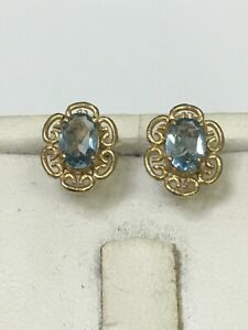 Fabulous 9 Carat Yellow Gold AQUAMARINE Stud Earrings