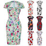 Ladies Vintage Swing Retro 50s Floral Print Party Evening Wiggle Dress Plus Size