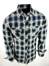 Mens Western Rodeo Cowboy Shirt Blue Plaid Floral Embroidery Snap Up
