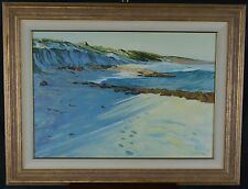 "J M Curtain 1998 Oil Painting Cottesloe Beach 16 x 22"" Perth Australian"