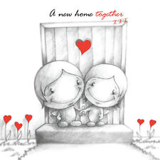 """""""A New Home Together"""" Cupids Card happy couple on front door step red b&w"""