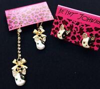 E40 Betsey Johnson Dangling Puppy Doggie Bull Terrier Hound Dog Earrings US