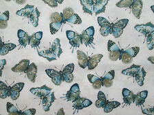 Butterfly Butterflies Monarch Blues Greens Creamy Cotton Fabric FQ