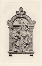 """Nice 1800s Luca della Robbia Antique Print """"Annunciation of Our Lady"""" FRAMED COA"""
