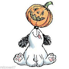 New Penny Black PUP-O-LANTERN Wood Rubber Stamp Halloween Pumpkin Jack Dog Puppy