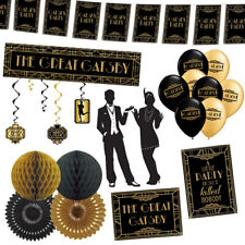 1920'S GATSBY DECORATION PACK - Party Supplies Balloons Posters Banners Bunting
