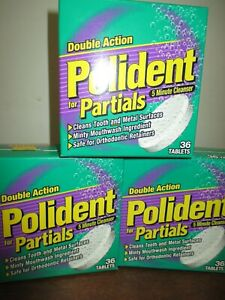 Lot of 3 Polident for Partials Daily Cleanser 36 Tablets