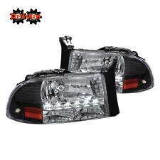 97-04 Dakota 98-03 Durango 1pc Headlights w/LED DRL Crystal Black Housing Sport