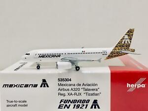 """Herpa Wings Mexicana de Aviacion A320 """"Talavera"""" """"Tizatlan"""" 1:500 XA-RJX 535304"""
