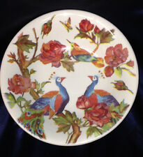 """ANDREW TANNER ENGLAND MAJESTIC 10 1/2"""" ROUND SERVING BOWL PEACOCKS PINK ROSES"""