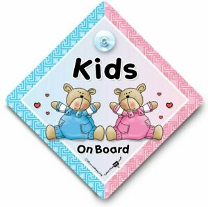 Kids On Board Car Sign, Baby On Board Sign, Suction Cup Sign, One of Each