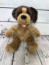 Build-A-Bear Workshop Brown Tan Puppy Dog  Stuffed Animal Plush Pink Tongue I