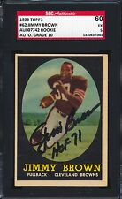 1958 Topps - Jim Brown Signed Rookie #62 - SGC 60/5 Autograph Grade Gem Mint 10