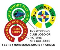 """6 SETS PERSONALISED BOWLS STICKERS ANY WORDS 1"""" LAWN FLATGREEN & INDOOR BOWLS"""