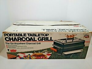New VTG Wood Handle Weber 121001 Go-Anywhere Portable Tabletop Charcoal Grill