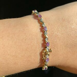 10K Gold Yellow Gold Alexandrite Diamond Tennis Bracelet Size 7.5 Grams 7.5