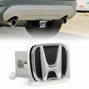 """Black Honda Polished Stainless Steel Hitch Cover Cap For 2"""" Trailer Tow Receiver"""