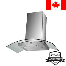Agua Canada Range Hood Curved Glass Stainless Steel Wall Mount, 30-Inch 500 CFM