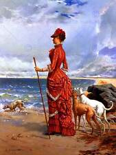 PAINTING SEASCAPE DUPAIN ELEGANT LADY GREYHOUNDS BEACH POSTER ART PRINT BB12941B