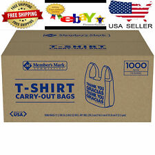 1000 ct T Shirt Bags Plastic Grocery Shopping Carry Out Thank You 12lbs. Kitchen