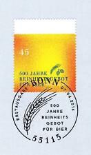 Rfa 2016: Pureté Pour Bière No. 3229 Avec Bonner Cachet Du Premier Jour! 20-08