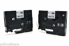 2x Brother Compatible TZ221 P-Touch 9mm Gloss Black on White Tape TZ-221 P Touch