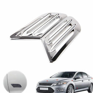 2pcs Car Exterior Side Air Intake Flow Vent Fender Decoration Grille Stickers