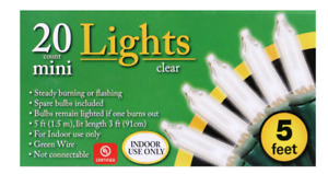 Holiday 5 ft Christmas Mini Christmas Lights 20 Lights Green Wire ~ Clear