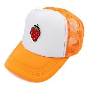 Children Kids Strawberry Style Mesh Snapback Trucker Cap Baseball Hat Adjustable
