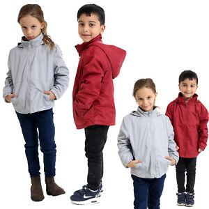 Kids Boys Girls Waterproof Fleece Lined Reversible School Jacket Hooded Coat New
