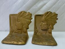 Vintage Cast Metal Bookends Indian Chief Gold Painted Headdress High Relief