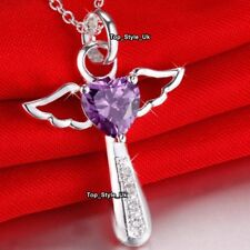 Angel Wings 925 Silver Amethyst Necklace Christmas Birthday Gifts for Her J461A