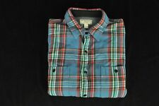 Wallace & Barnes J.Crew 100% Cotton Blue, Red & Green Mid Weight Work Shirt L