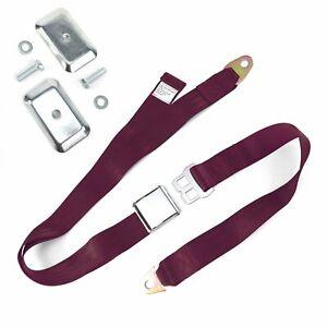 2pt Burgundy Airplane Buckle Lap Seat Belt w/ Flat Plate Hardware