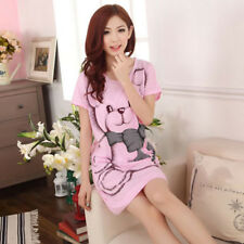 Women Nightgowns Short Sleeve Dress Cute Cartoon Bear Print Sleepwear Nightdress