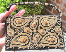 "8""x5"" MM KANE Paisley Floral True Zari Clutch Sterling Silver, Gilt Thread India"