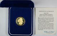 1975 Panama 100 Balboa Proof Gold Coin, Vasco Nunez de Balboa, In Box w/ COA