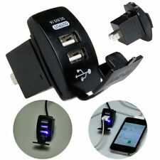 12V Dual Port USB Car Power Charger Adapter Socket Plug Outlet Switch Converter