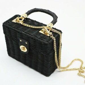 Handmade Rattan Black Straw Shoulder Bucket Bags Square Box Summer Lady Bag New