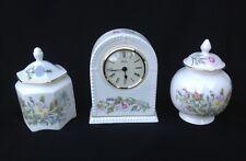 Aynsley Wild Tudor Mantle Clock and 2 Lidded Trinket Jars/Pots