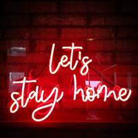 "17""x14""Let's Stay Home Neon Sign Light Party Bar Pub Wall Hanging Handcraft Gift"